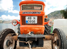 Orange vintage tractor Turkey Royalty Free Stock Photography