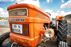 Orange vintage tractor Turkey Royalty Free Stock Image