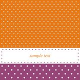 Orange and violet card or invitation, polka dots. Orange and violet  card or invitation with white polka dots. Cute background with white space to put your own Stock Photo
