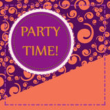 Orange and Violet Template for Flyer Cover Print. Party Time! Orange and Violet Template for Flyer Cover Print Stock Images