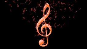 Orange Violinschlüssel mit Fliegenanmerkungen Stockfoto