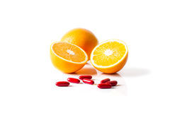 Orange and Vitamin C. For healthy eating Royalty Free Stock Image