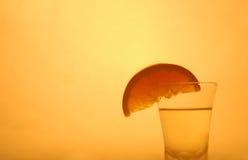 Orange on vodka. A shot of orange with vodka royalty free stock photos