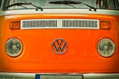 Orange Volkswagen Beatle Van Stock Photos
