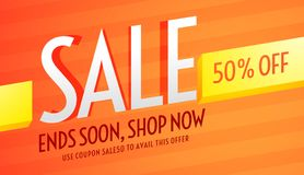 Orange voucher for sale and business promotion Stock Images