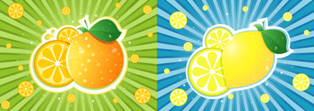 Orange vs lemon Royalty Free Stock Image