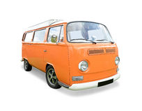 Orange VW camper van. Profile of orange VW camper van isolated on white Royalty Free Stock Photos