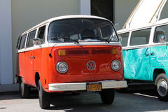 Orange VW microbus. Old Volkswagen Microbus parked outdoors on a sunny Miami day royalty free stock images