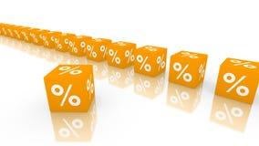 Orange Würfel mit Prozentsymbol Stockfoto