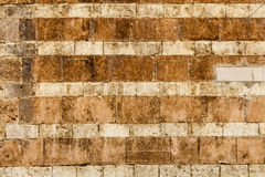Orange wall bricks worn background. Horizontal stripes Royalty Free Stock Photo