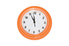 Orange wall clock Royalty Free Stock Photo
