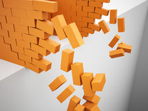 Orange wall is destroyed Stock Images
