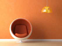 Orange wall interior design Stock Photo