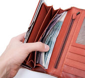 Orange wallet with money Royalty Free Stock Photography