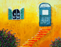 Orange walls. Original oil painting of colorful walls in the medieval city in the south of France stock illustration