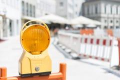 Orange Warning Light at construction site Royalty Free Stock Images