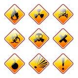 Orange warning signs. Set of warning signs Royalty Free Stock Photography