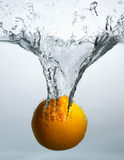 The orange in water Royalty Free Stock Image