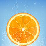 Orange in water. With bubbles Stock Photography