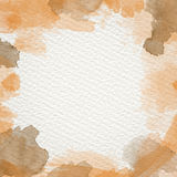 Orange Water Color frame. Frame from  watercolor stains on white paper Royalty Free Stock Photo