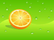 Orange and water drops. Illustration of orange slice and water drops in abstract summer background Royalty Free Stock Photography