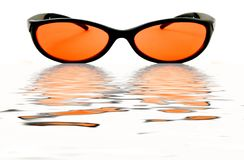 Orange Water Glasses Royalty Free Stock Photography