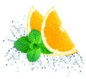 Orange water splash Royalty Free Stock Image