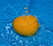 Orange with water splash. Big orange with water splash Royalty Free Stock Photo