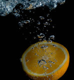Orange and water splash fruit. Background splash, cold, drink, citrus stock image