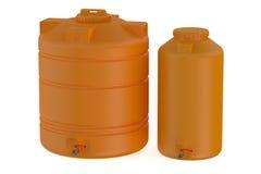 Orange water tanks. Isolated on white background Stock Photos