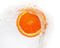 Orange in water on white background Stock Image
