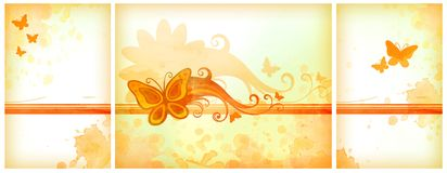 Orange watercolor backgrounds Stock Photography