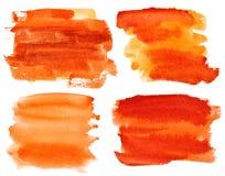 Orange watercolor brush strokes Stock Image