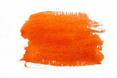 Orange watercolor brush strokes on white rough texture paper  wi Stock Photo