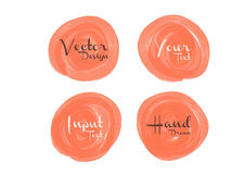 Orange watercolor circle paint, icon design Stock Photos