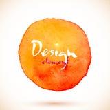 Orange watercolor circle, vector design element Royalty Free Stock Photos