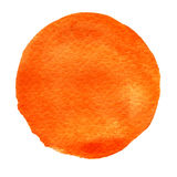 Orange, watercolor circle. Watercolour stain on white background. Stock Photos