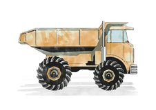 Orange watercolor dump truck Royalty Free Stock Photos