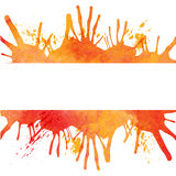 Orange watercolor paint background with blots and banner royalty free illustration