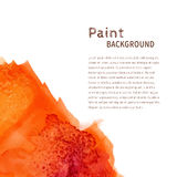 Orange watercolor paint background Stock Image