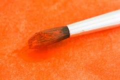 Orange watercolor paint on bristles Stock Images