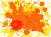 Orange watercolor paint splashes background Stock Photos