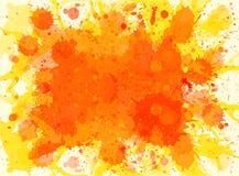 Orange watercolor paint splashes background Stock Image