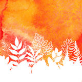 Orange watercolor painted autumn foliage background Stock Photo