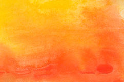 Orange watercolor painted background texture. Orange watercolor painted on paper background texture stock photography