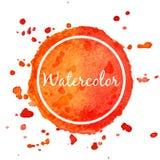 Orange watercolor splash circle background Royalty Free Stock Photo