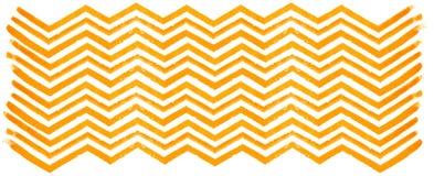 Orange watercolor zigzag pattern on white background. Orange stripes on white watercolor paper Stock Images