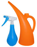 Orange watering can and blue sprayer, isolated on white background Royalty Free Stock Photo