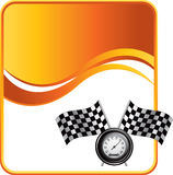 Orange wave backdrop with speedometer and flags Royalty Free Stock Photography