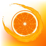 Orange with a wave juice Royalty Free Stock Images